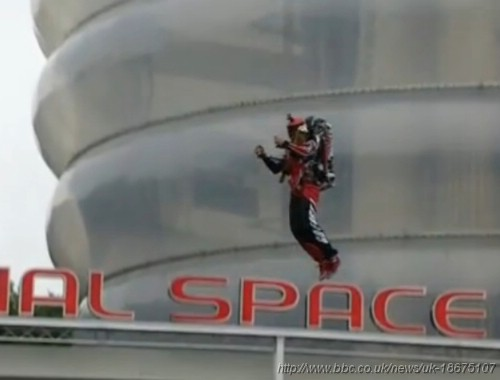 Lost in Space style jetpack Olympic torch relay